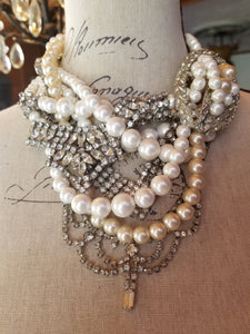 Stunning Vintage Assemblage Pearl and Rhinestone Tangled Necklace