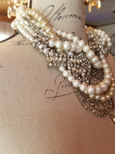 Load image into Gallery viewer, Stunning Vintage Assemblage Pearl and Rhinestone Tangled Necklace