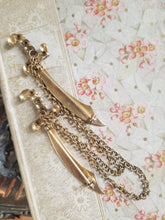 Load image into Gallery viewer, Vintage Sword Swag Chatelaine Brooch w/ Paste Rhinestones