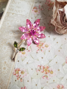 Sweet Pink Rhinestone Flower Pin/Brooch