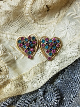 Load image into Gallery viewer, Vintage Multicolored Rhinestone Heart Scatter Pins