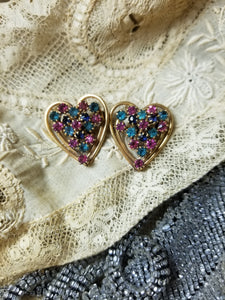 Vintage Multicolored Rhinestone Heart Scatter Pins