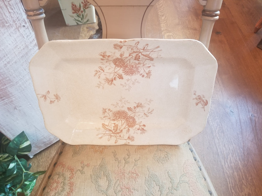 1800's Ironstone Brown Transferware Platter