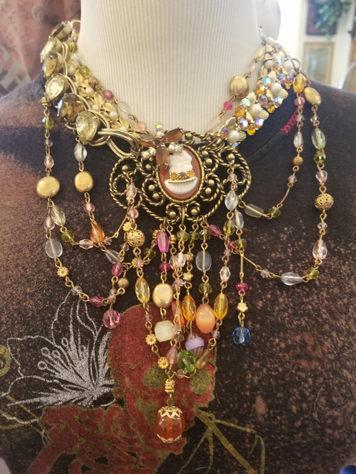 Multi-strand Swag Cameo Statement Necklace