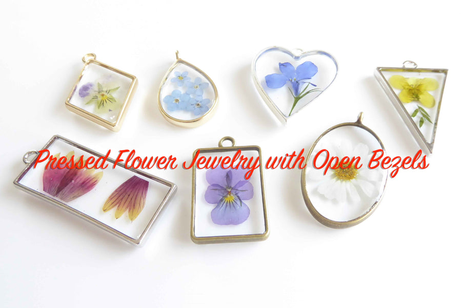 Pressed Flower Jewelry with Open Bezels