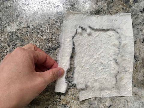 tear mulberry paper to size and shape