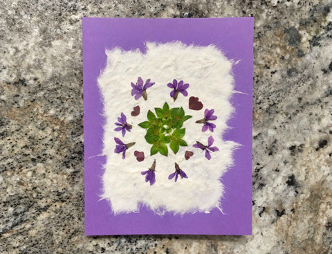 pressed flower card with mulberry paper