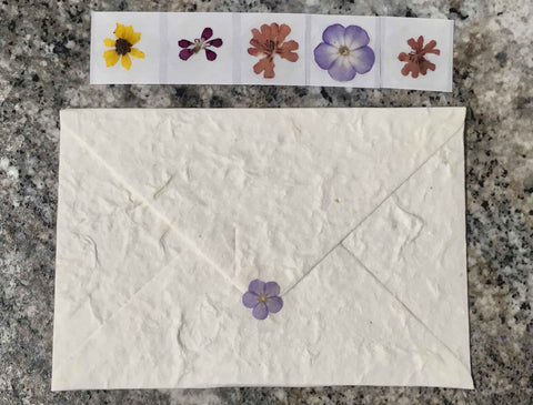 pressed flower sticker on a envelope
