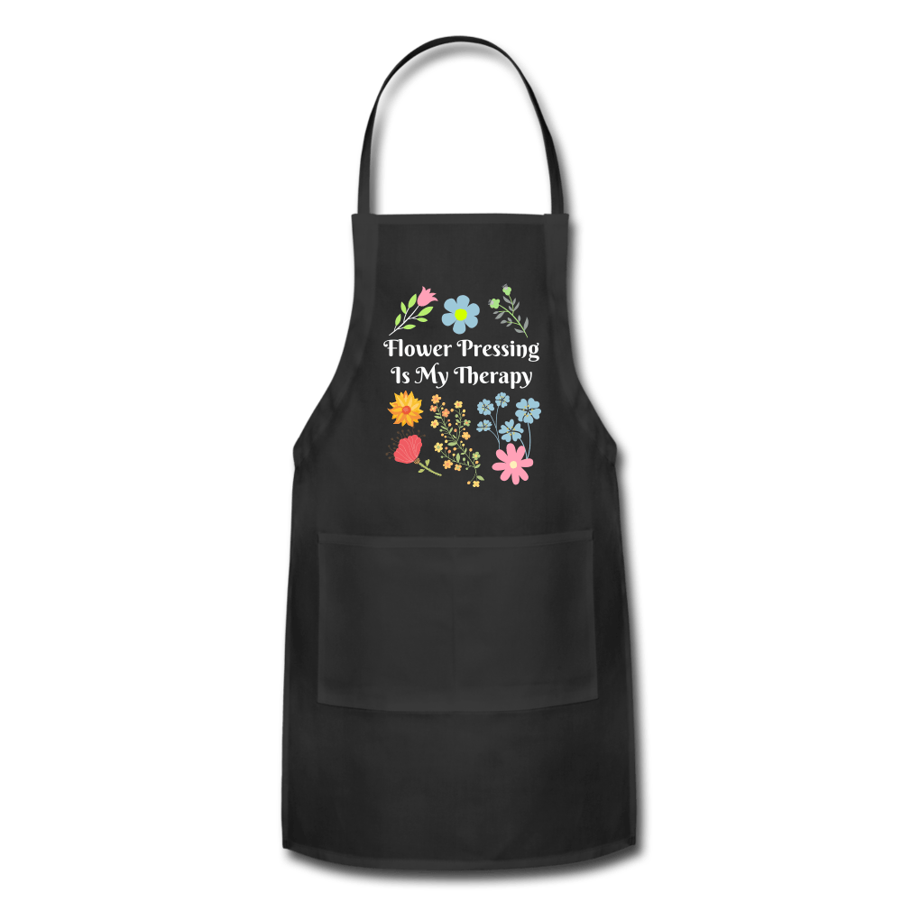 Flower Pressing is My Therapy Apron black Adjustable Apron Microfleur