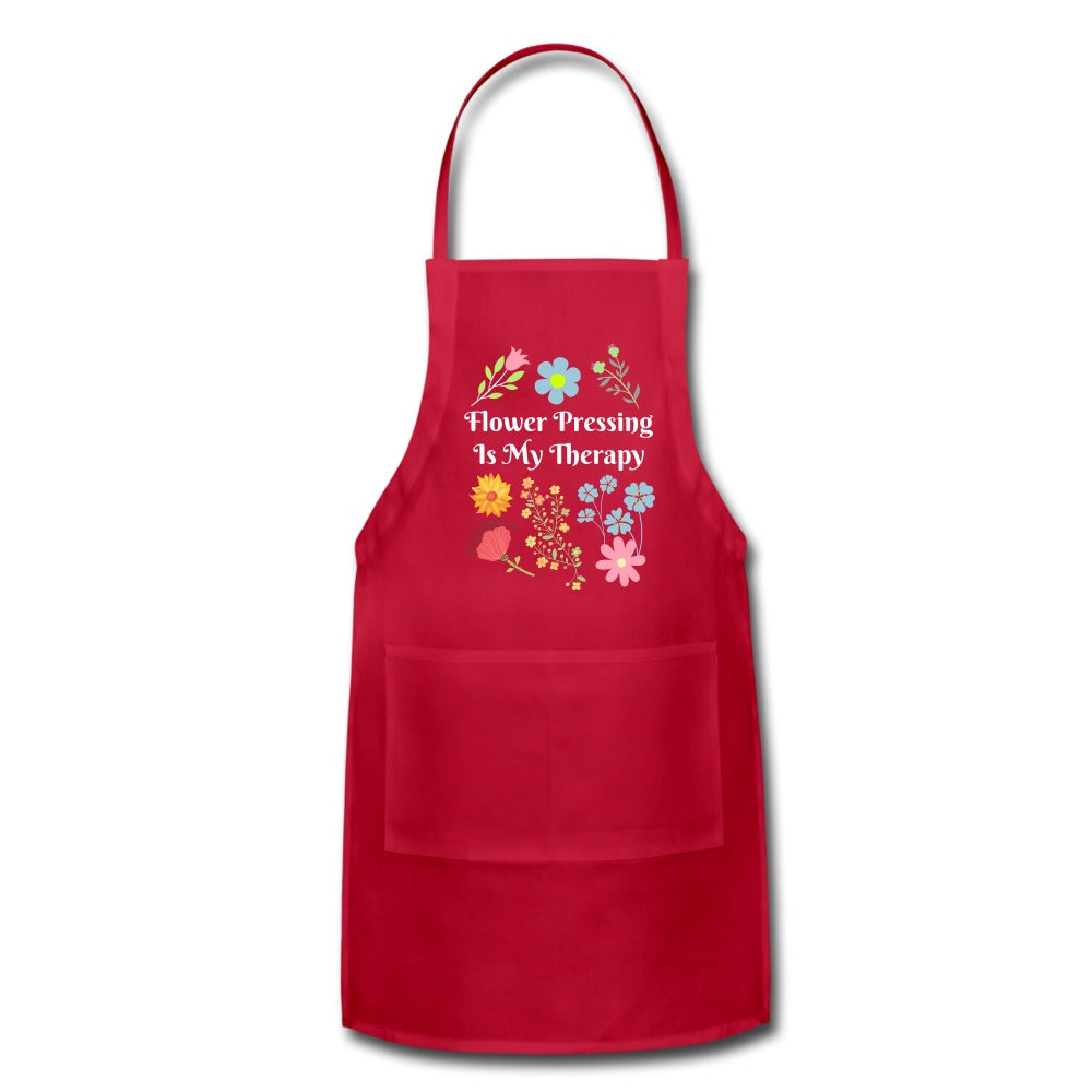 Flower Pressing is My Therapy Apron red Adjustable Apron Microfleur