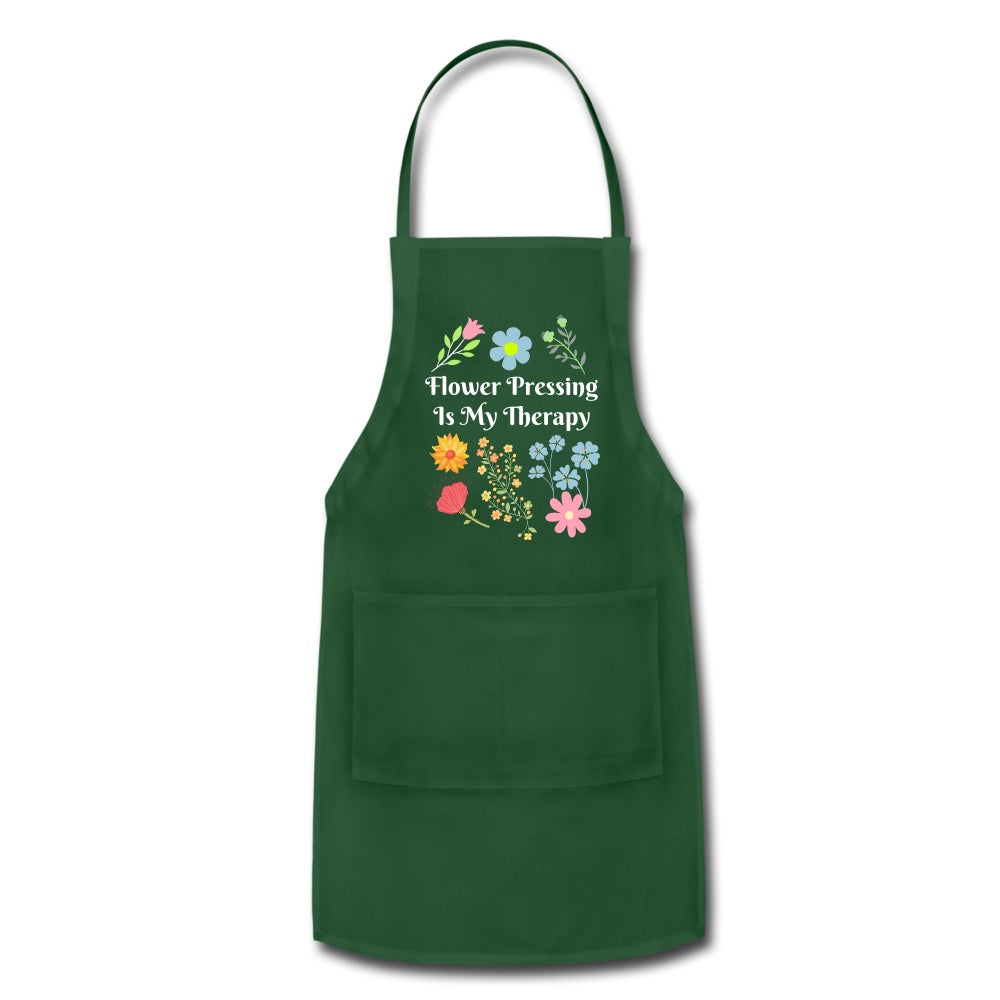 Flower Pressing is My Therapy Apron forest green Adjustable Apron Microfleur