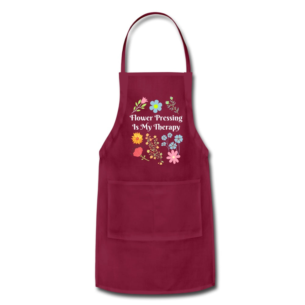 Flower Pressing is My Therapy Apron burgundy Adjustable Apron Microfleur