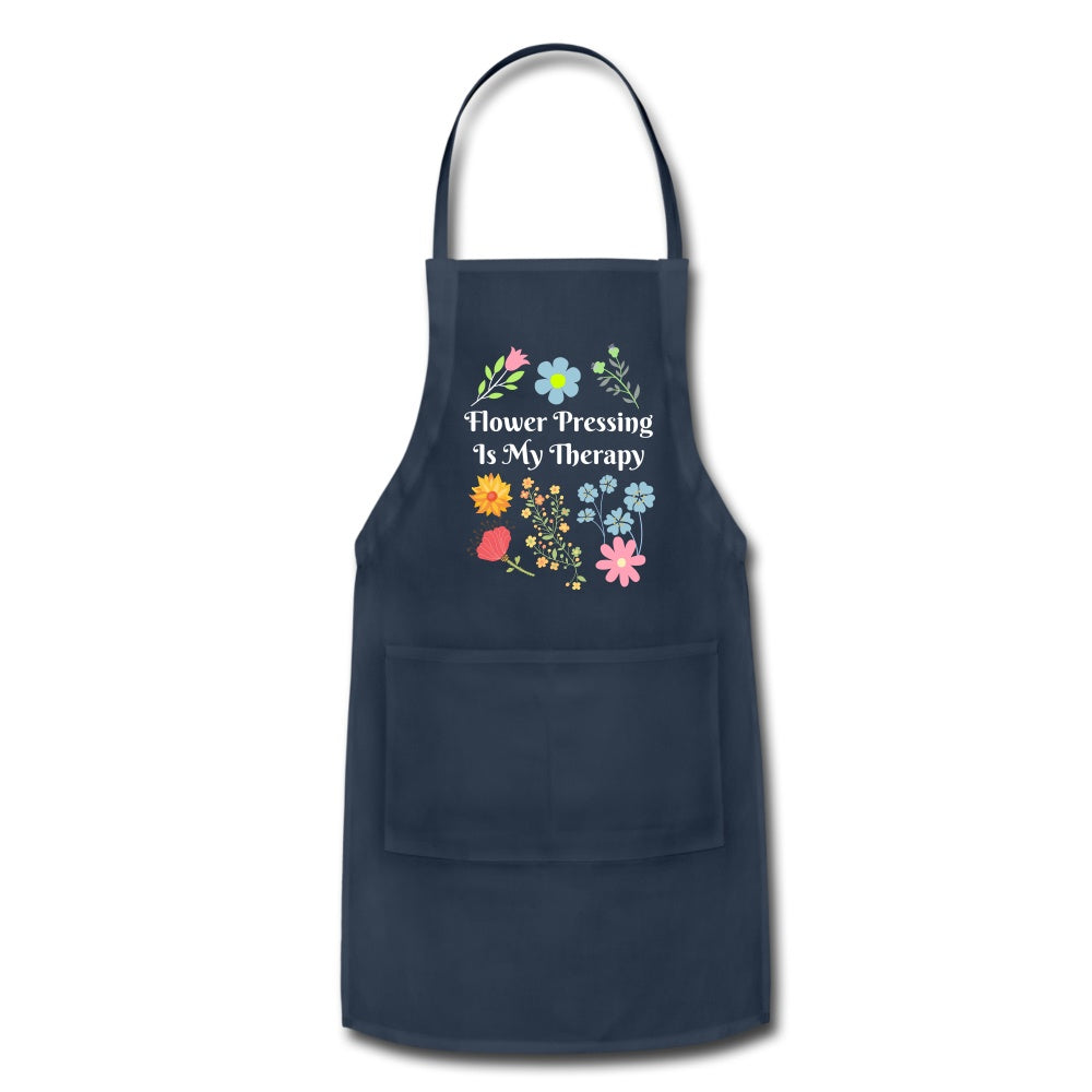 Flower Pressing is My Therapy Apron navy Adjustable Apron Microfleur
