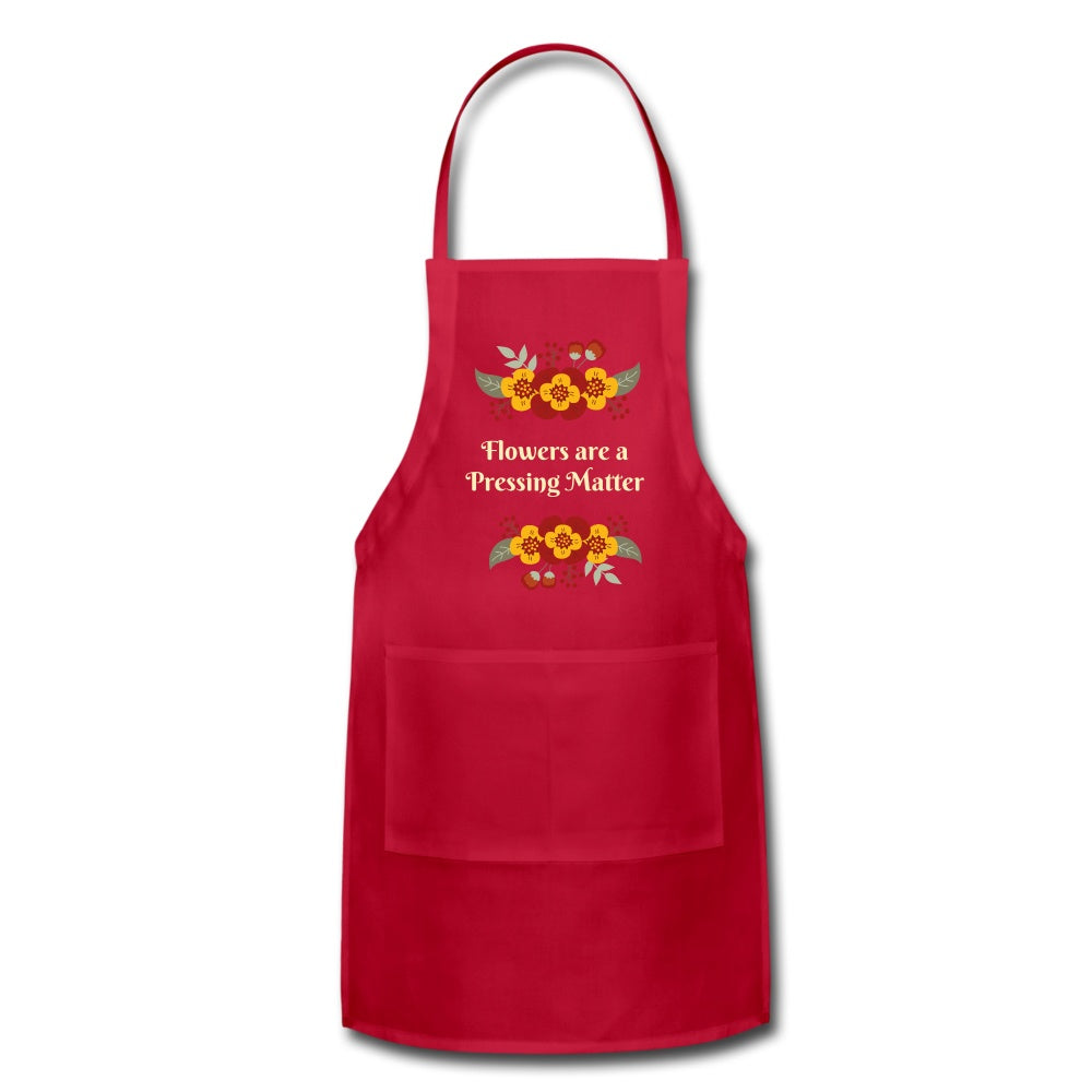 Flowers are a Pressing Matter Apron red Adjustable Apron Microfleur