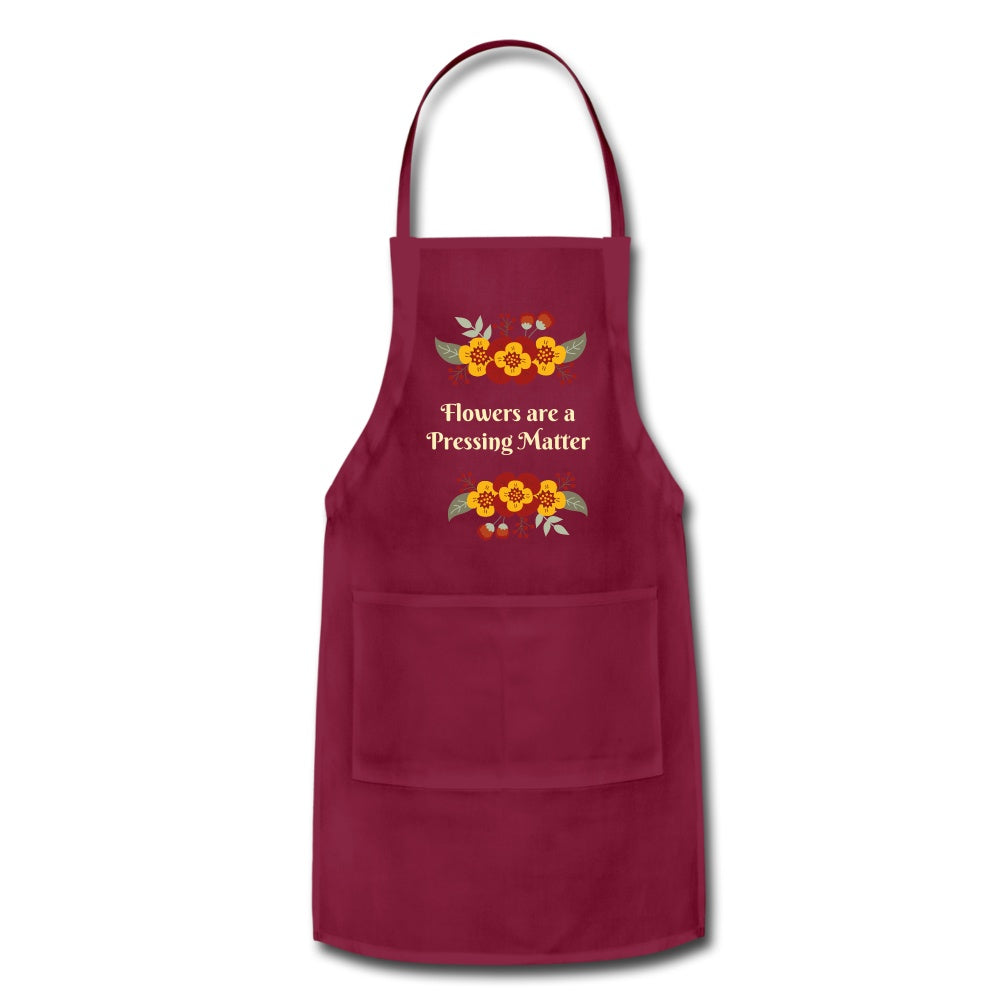 Flowers are a Pressing Matter Apron burgundy Adjustable Apron Microfleur