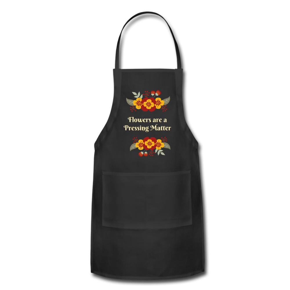 Flowers are a Pressing Matter Apron black Adjustable Apron Microfleur