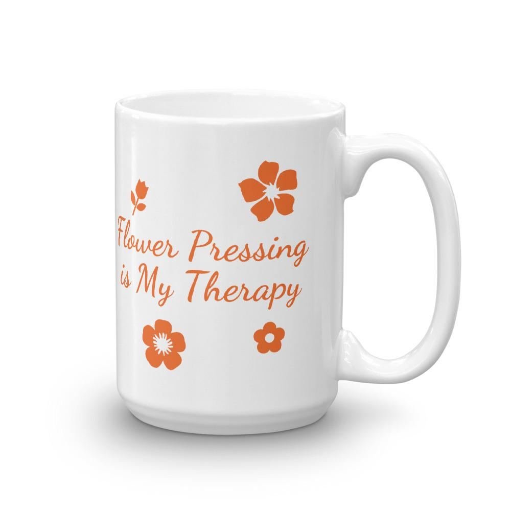 Flower Pressing is My Therapy Coffee Mug 15oz Coffee Mug Microfleur