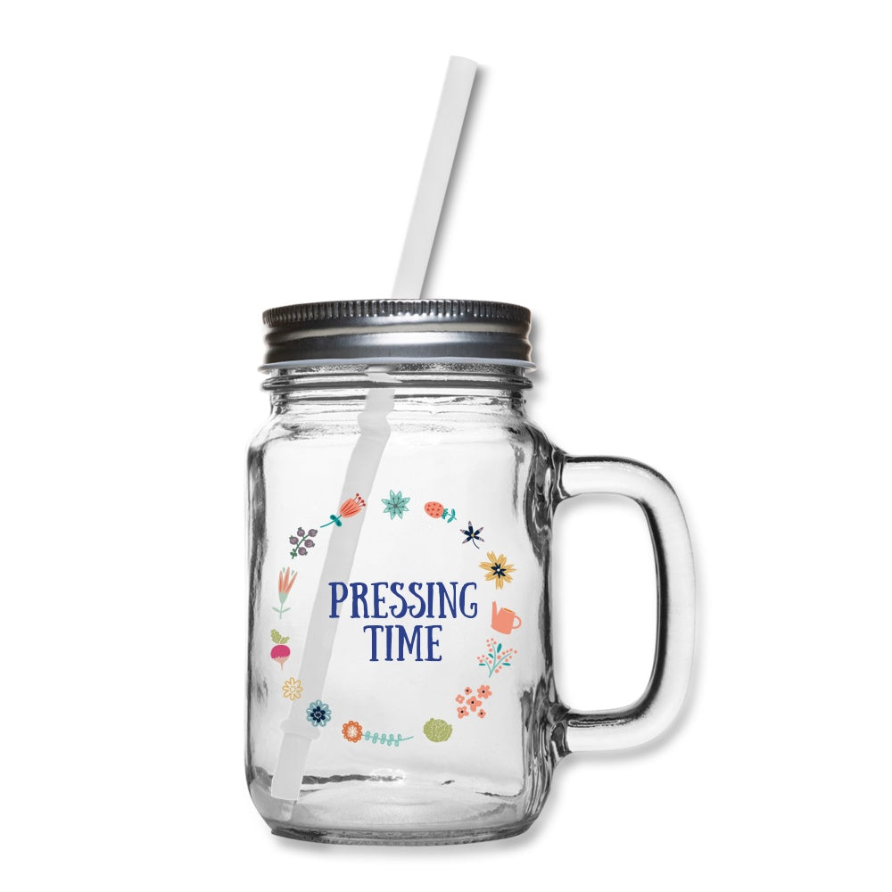 Pressing Time Mason Jar One Size Mason Jar Mug Microfleur