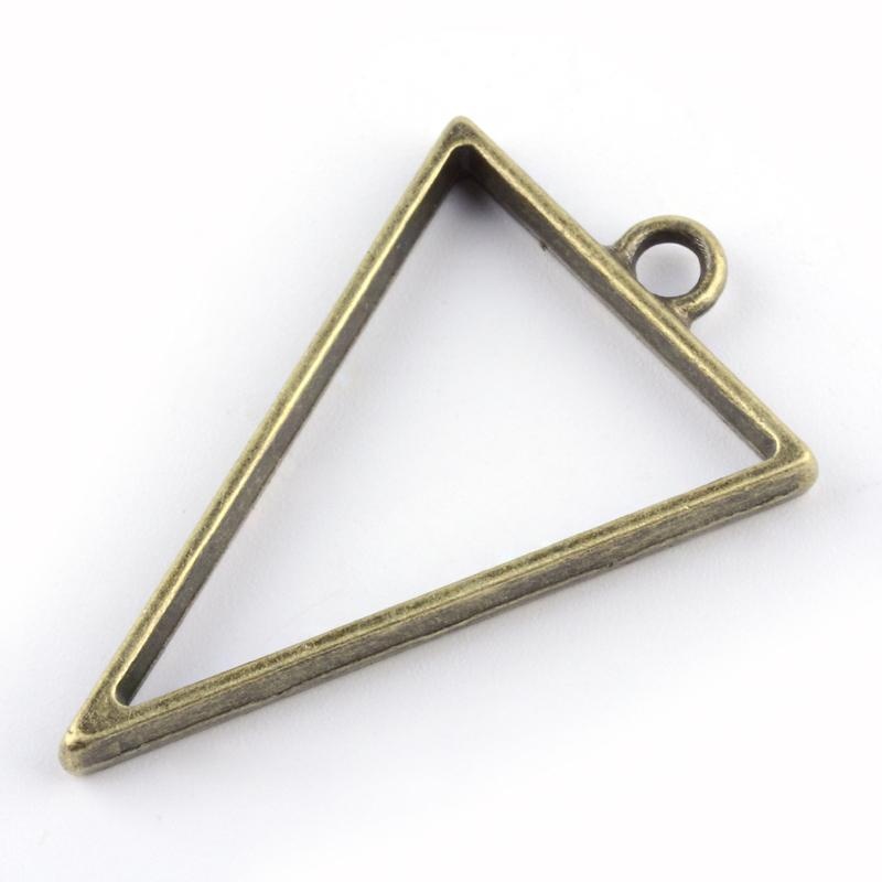 Triangle Open Back Bezel Pendant Antique Bronze Open Back Bezel Microfleur