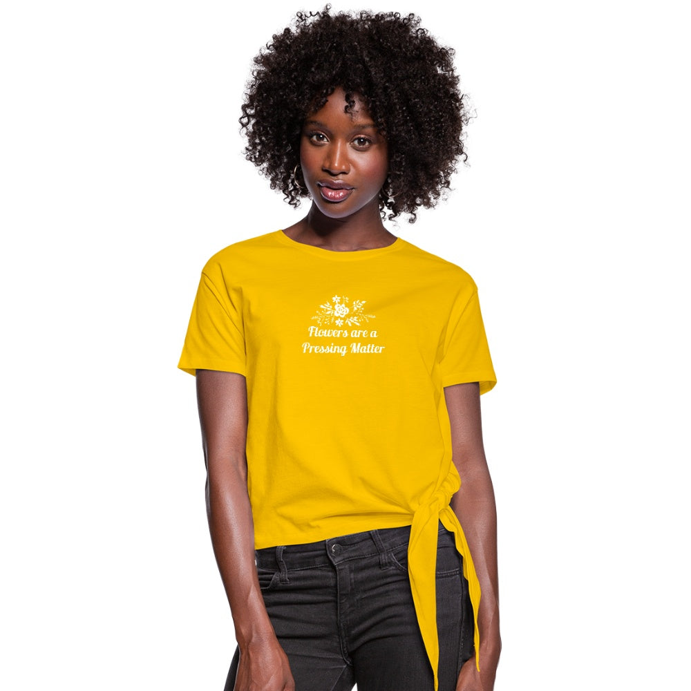 Flowers are a Pressing Matter Knotted T-Shirt sun yellow / 2XL Women's Knotted T-Shirt Microfleur