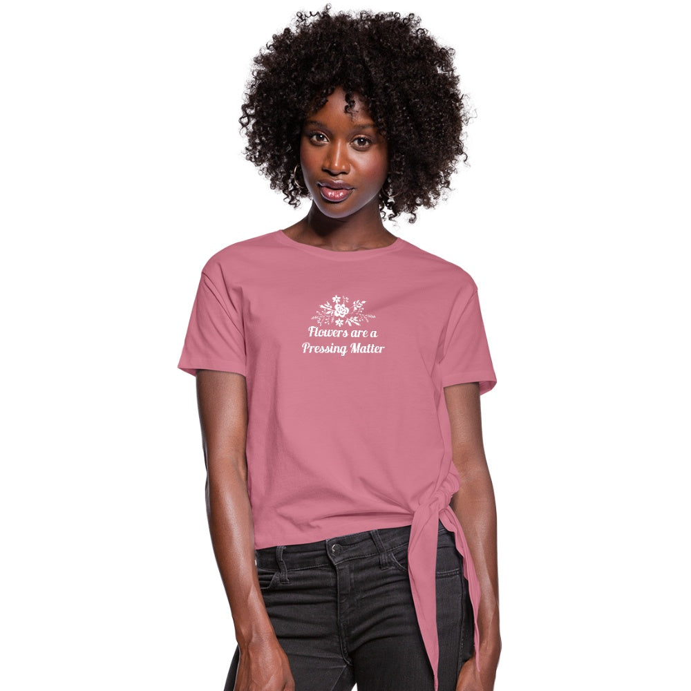 Flowers are a Pressing Matter Knotted T-Shirt mauve / 2XL Women's Knotted T-Shirt Microfleur