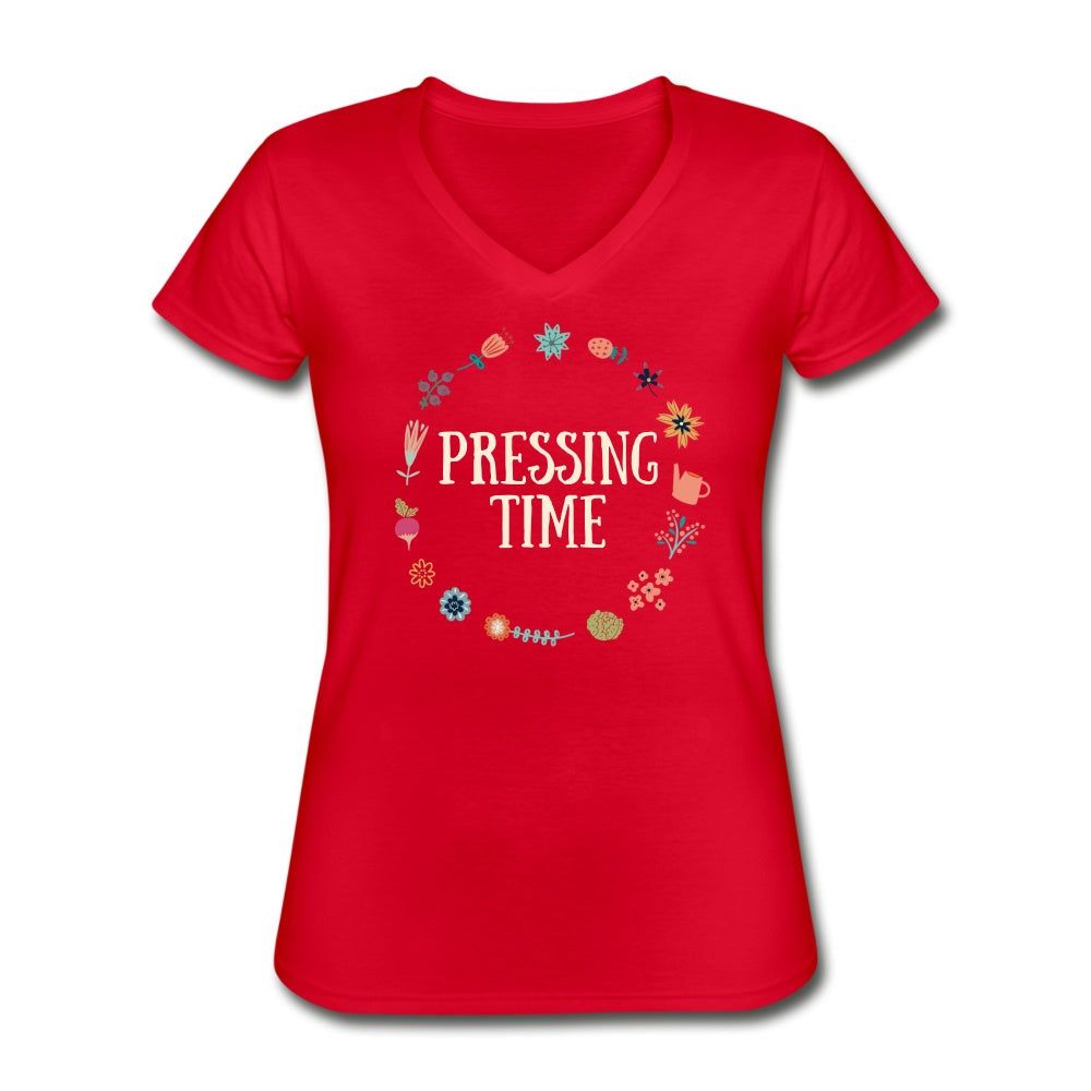 Pressing Time Women's V-Neck T-Shirt red / 2XL Women's T-Shirt Microfleur