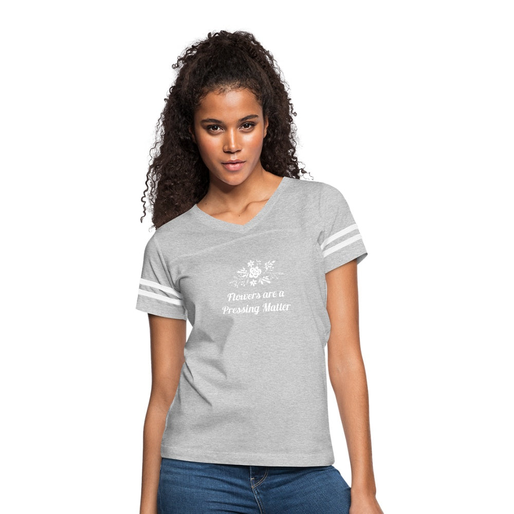 Flowers are a Pressing Matter Vintage Sport T-Shirt heather gray/white / 2XL Women's Vintage Sport T-Shirt Microfleur