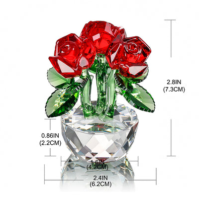 Crystal Three Roses Crafts Glass Fengshui - MS Unique