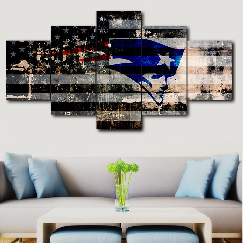 5 Panel Canvas New England Patriots - MS Unique