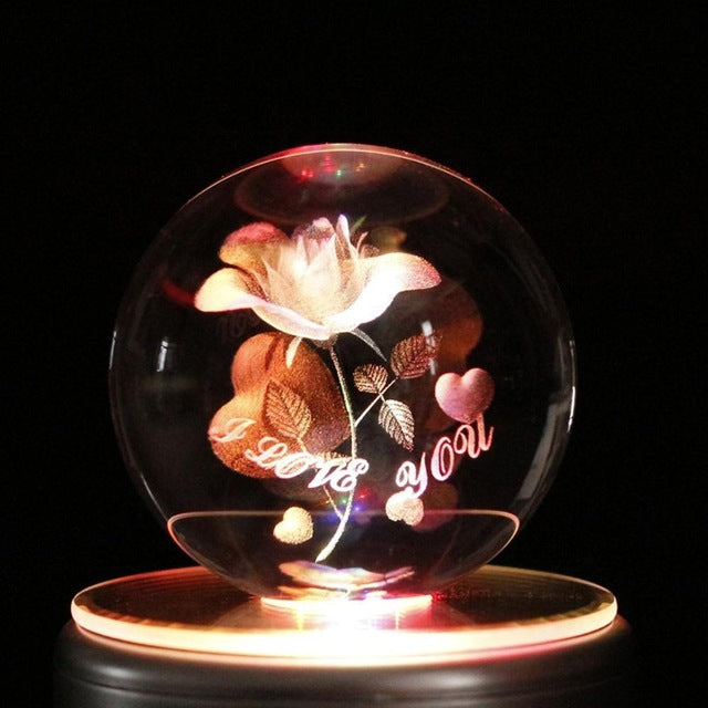 LED Crystal Ball Flower Love Valentine's Gift - MS Unique