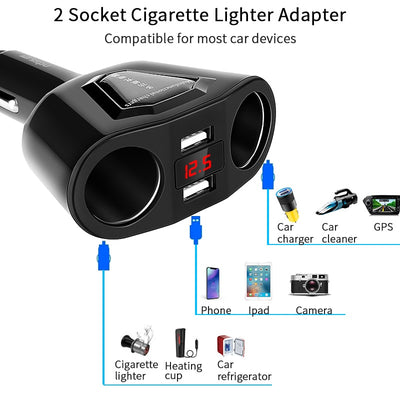 Car Dual USB Charger 2 Car Lighter Slot Display Charging - MS Unique