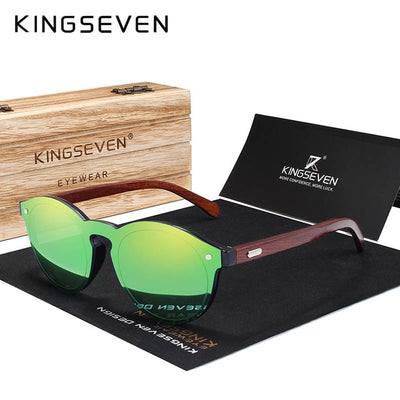 KINGSEVEN Natural Wood Sunglasses Rosewood Oculo - MS Unique