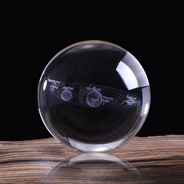 3D Solar System Crystal Ball Laser Engraved - MS Unique