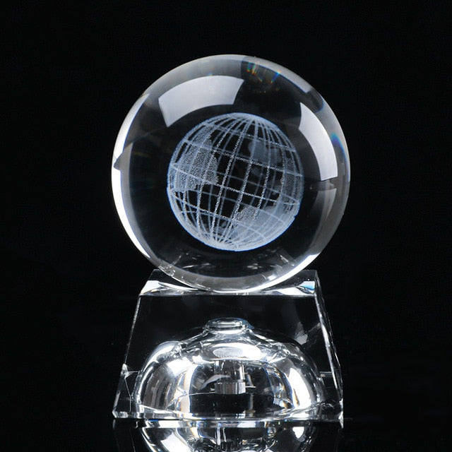 3D Crystal Earth Ball Laser Engraved Glass Sphere - MS Unique