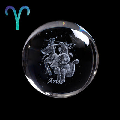 60 MM 3D Zodiac Crystal Ball Laser Engraved - MS Unique