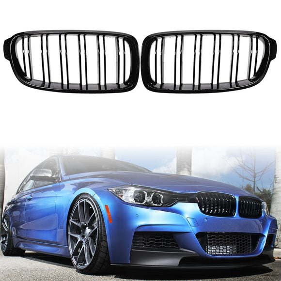 2x Front Kidney Grille Twin slate for BMW 3Series F30 F31 F35 320i 325i 328i 335i 2012+