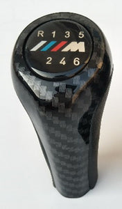 6, 5 Speed Carbon Fiber Gear Shift Knob With M Logo For BMW