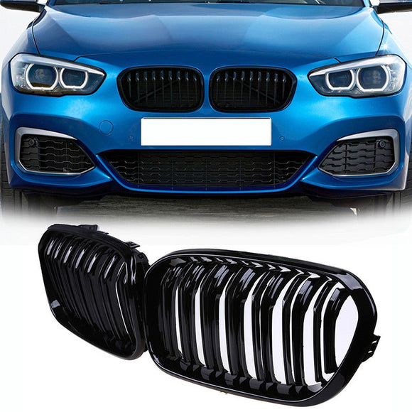 2x Front Kidney Grille Dual Slate Gloss Black  For BMW 1-Series F21 F20  2015-2017