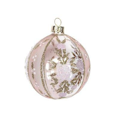 Gisela Graham Clear/Opaque Pink/Gold Glass Rose Ball