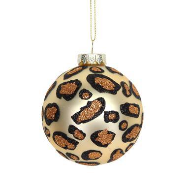 Gisela Graham Matt Gold Leopard Print Glass Ball