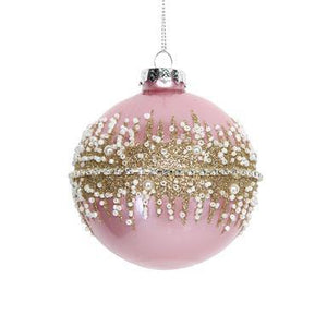 Gisela Graham Pink Glass Ball with Crushed Glitter Band