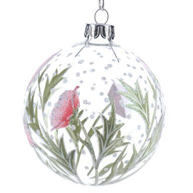 Gisela Graham Clear Glass Ball with Pink Hellebore