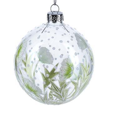 Gisela Graham Clear Glass Ball with Green Hellebore