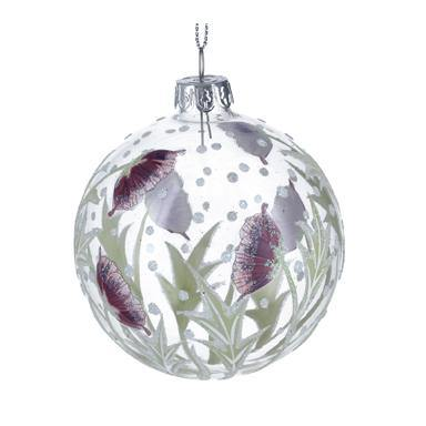 Gisela Graham Clear Glass Ball with Burgundy Hellebore .