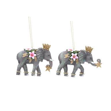 Gisela Graham Resin Elephant with Flower