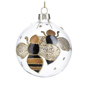 Gisela Graham Clear Glass Ball with Black/Gold Bumble Bee