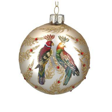 Gisela Graham Pale Gold Glass Ball with Multi Colour Parrots