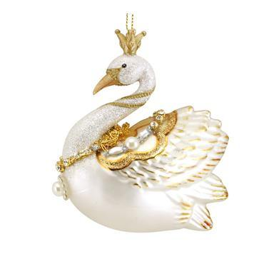 Gisela Graham Cream/Gold Glass Swan with Pearls