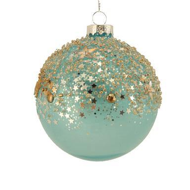 Gisela Graham Blue Opaque Glass Ball with Gold Stars Toppings