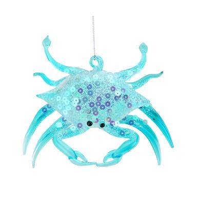 Gisela Graham Opaque Blue Glass/Sequin Crab